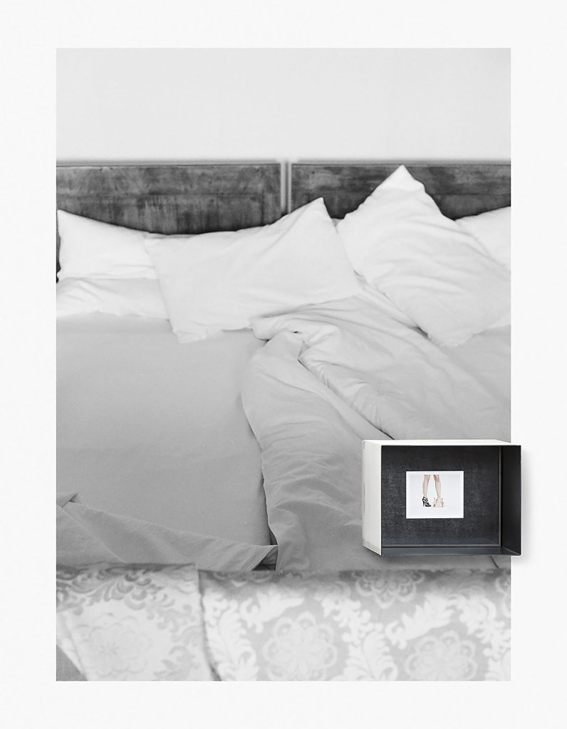 LUCID DREAM, 2015. Fuji Instant Film (FP-100C, 8,5x10,8cm) in metal box, analog photography, Pigmentprint on the wall.